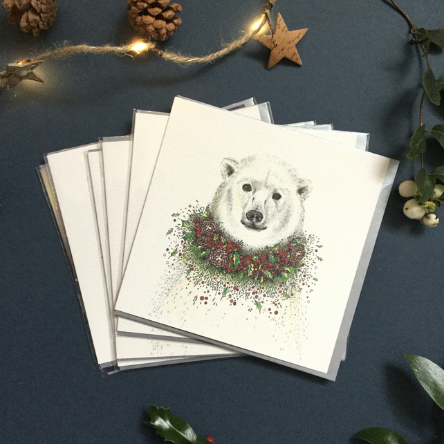 Polar Bear with holly card pack x 6