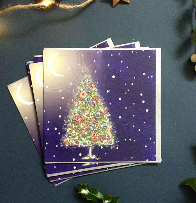 Lit up Winter Tree x 6 card pack