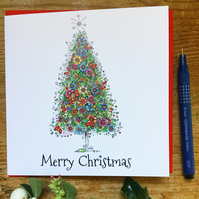Stunning floral Christmas Tree single card
