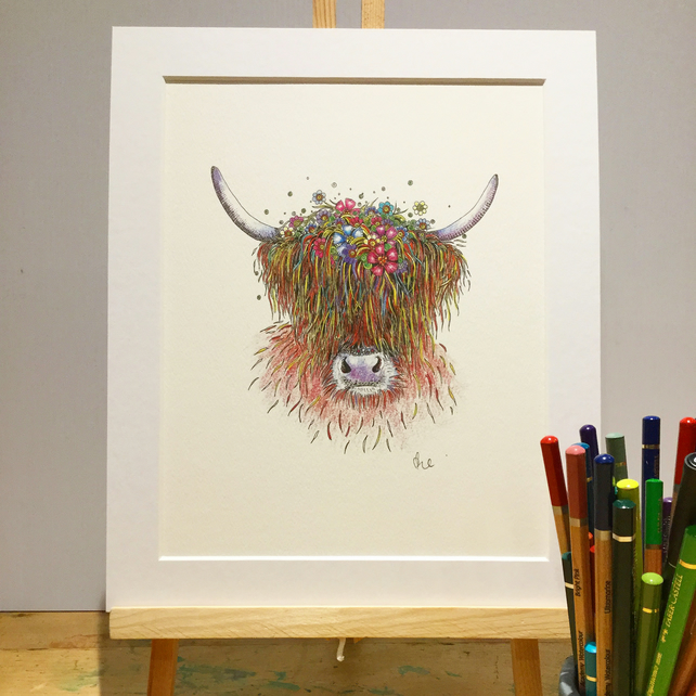 Floral Highland Cow Art Print