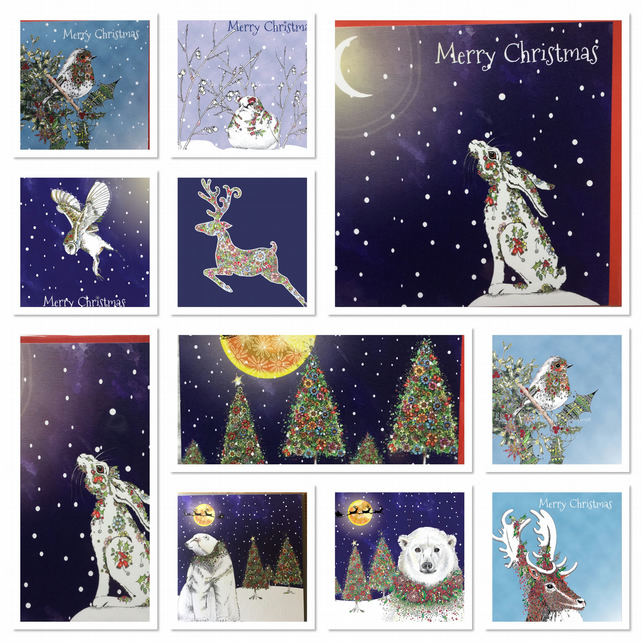 Dark snowy pack of ten mixed Christmas cards