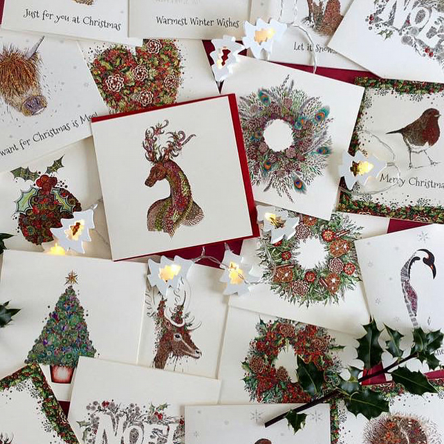 10 x Traditional Christmas card mixed pack of different designs