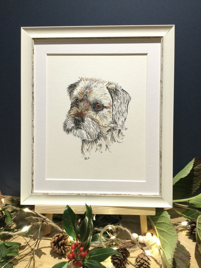 Framed Border Terrier Art Print