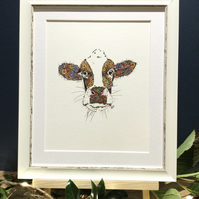 Framed Marigold the Cow Art Print