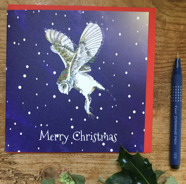 Christmas Barn Owl x 6 cards