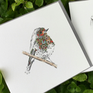 Single Rose hip Robin greeting card