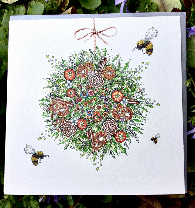 Brand NEW Bee Bauble Single Christmas card