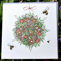 Christmas Bee Bauble x 6 cards
