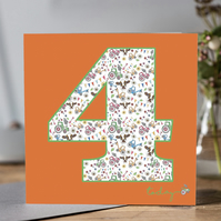 Child's Age 4 Birthday Card