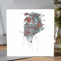 Floral Elephant Greeting card