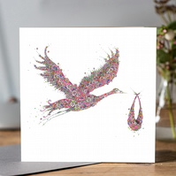 New baby Girl Pink Floral Stork Greeting card