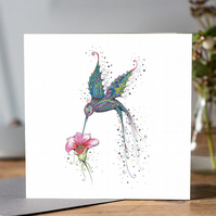 Purple Hummingbird blank card