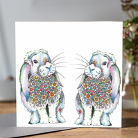 Twin bunnies greeting card