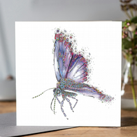 Purple Butterfly Greeting card (Common Blue)