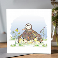 Female duck and chicks greeting card (blank)