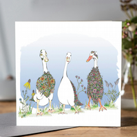 Beautiful Runner Ducks Greeting Card