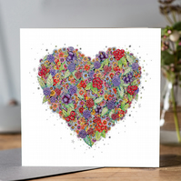 Very Berry Heart greeting card (Blank)