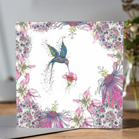 Hummingbird and Passionflower Greeting card