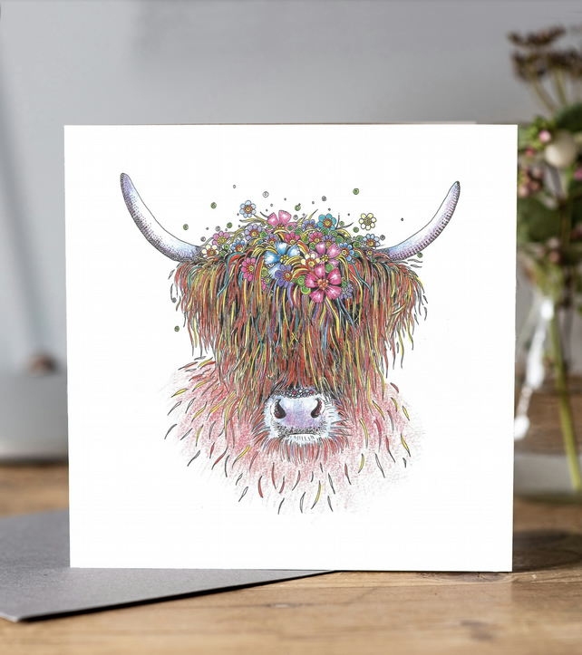 Flora the Highland Cow Greeting card