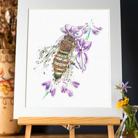 "Honey Bee and Lavender signed 10 x 12"" mounted print"