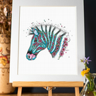 ZEBRA Mounted signed Art Print