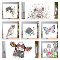 A mixed pack of 7 various greeting card designs