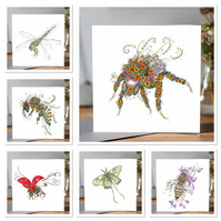 6 x different insect greeting cards