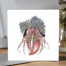 Beautifully floral Hermit Crab greeting card