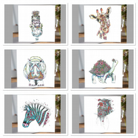 Wild Animal mixed Greeting card pack x6