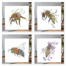 4 Beautiful Bee Greeting cards