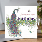 Botanical Peacock Birthday card
