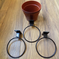 "3 X 6"" Plant Pot Ring Holders........Wrought Iron (Forge Steel) Free Fitting Kit"