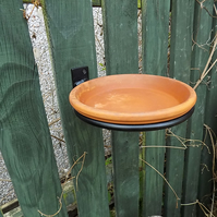 8 Inch Terracotta Bird Bath...........Wrought Iron (Forge Steel)Free Fitting Kit