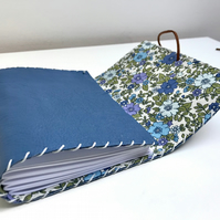 A6 Handmade Leather notebook Blue floral fabric lining plain paper