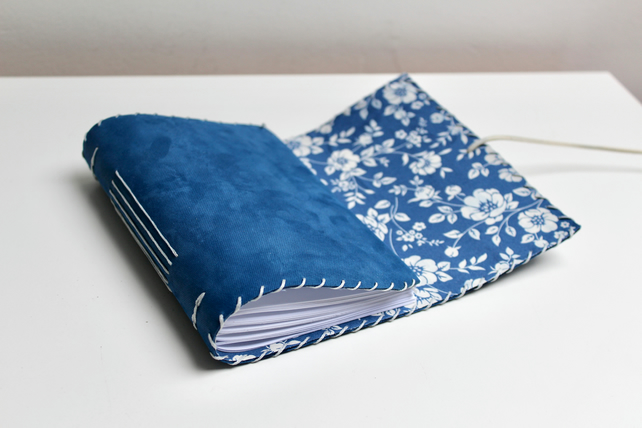 A6 Fold Over Blue Leather handmade notebook floral fabric lining plain paper