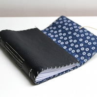 A6 Fold Over Navy Leather handmade notebook floral fabric lining plain paper