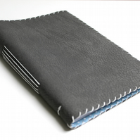 A5 Grey Leather notebook with lined paper
