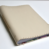 A5 Cream Leather handmade notebook with fabric lining  and lined paper