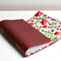 A6 Fold Over Red Leather handmade notebook floral fabric lining plain paper