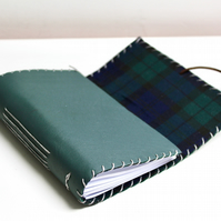 A6 Fold Over Green Leather handmade notebook floral fabric lining plain paper