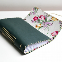 A6 Handmade Green Leather notebook with floral fabric lining