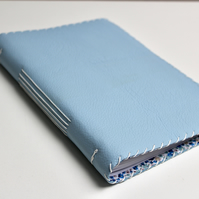 A5 Pale Blue Leather handmade notebook with fabric lining  and line paper