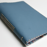A5 Blue Teal Leather handmade notebook with fabric lining  and lined paper