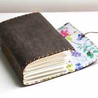 A6 Handmade Brown Leather art journal with floral fabric lining