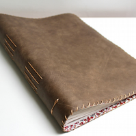 A4 brown leather notebook sketchbook with floral fabric lining