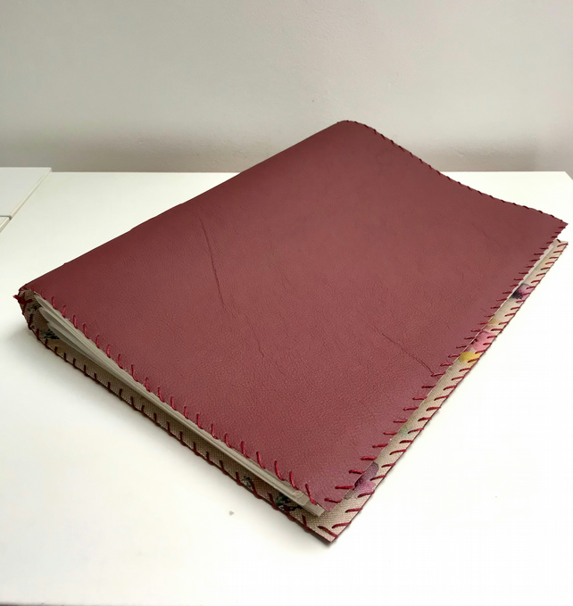 A4 purple leather notebook sketchbook with floral fabric lining
