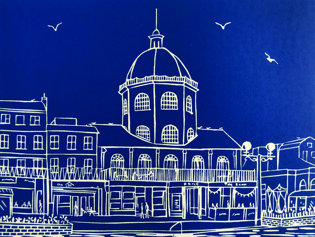 'The Dome, Worthing II' greetings card, from limited edition linocut