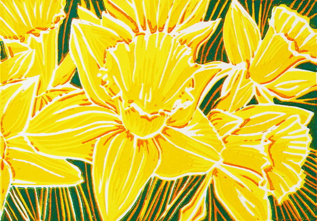 'Daffodils' greetings card, from limited edition linocut