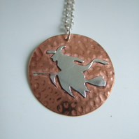 Copper and Sterling Silver Witch Pendant