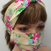 Set of women face mask and headband
